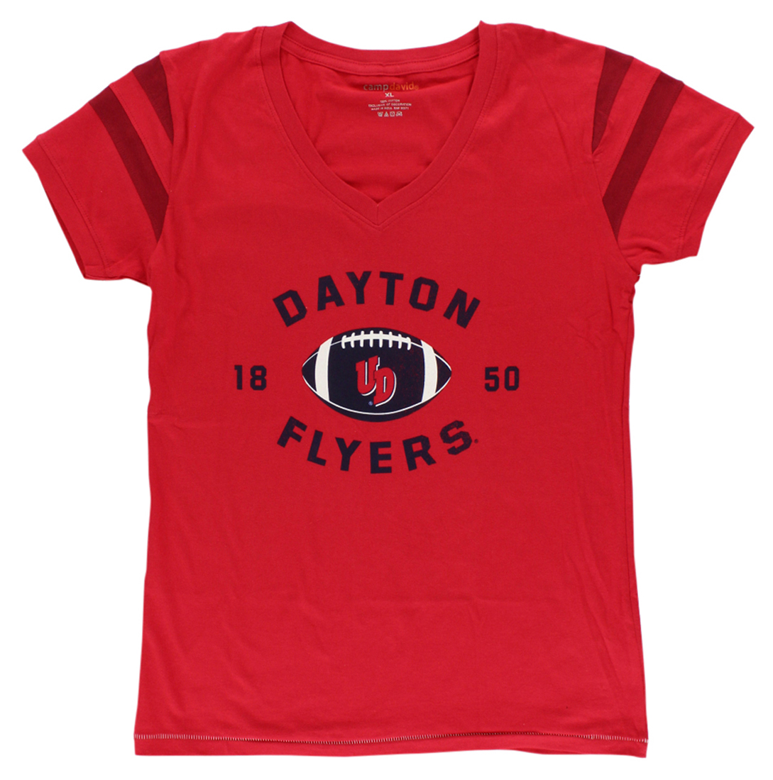 Camp David Womens Dayton Flyers College Kailey V Neck T Shirt Red