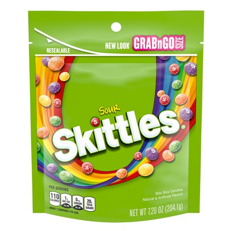 SKITTLES Sours Grab N Go, 7.2-Ounce Bag (Personalized Skittles)