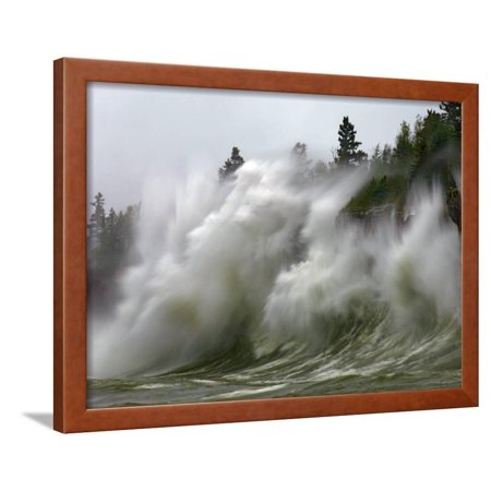 - Storm Waves on Lake Superior Crashing on Minnesota Shoreline Framed Print Wall Art By Layne Kennedy