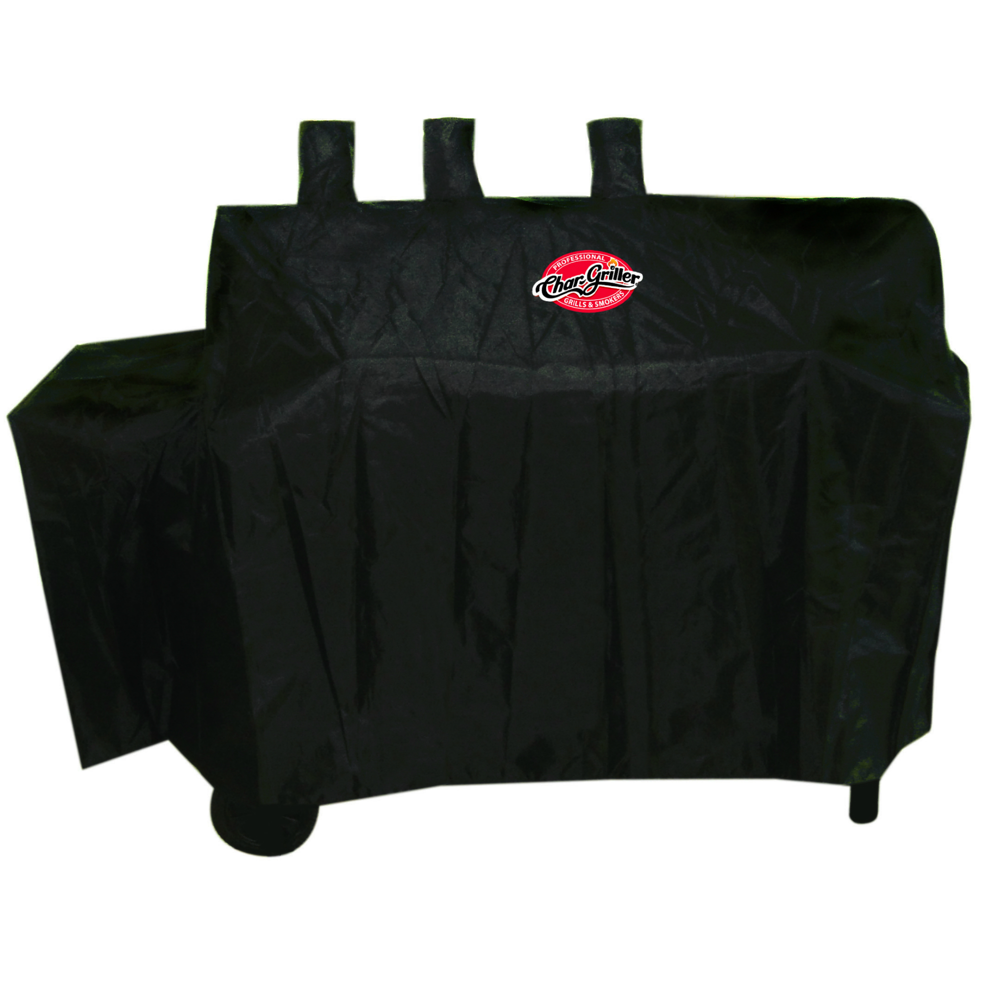 Char-Griller Dual 2 Burner Gas and Charcoal Grill Cover with Expansion Sleeve to accommodate side firebox, Black, 5055