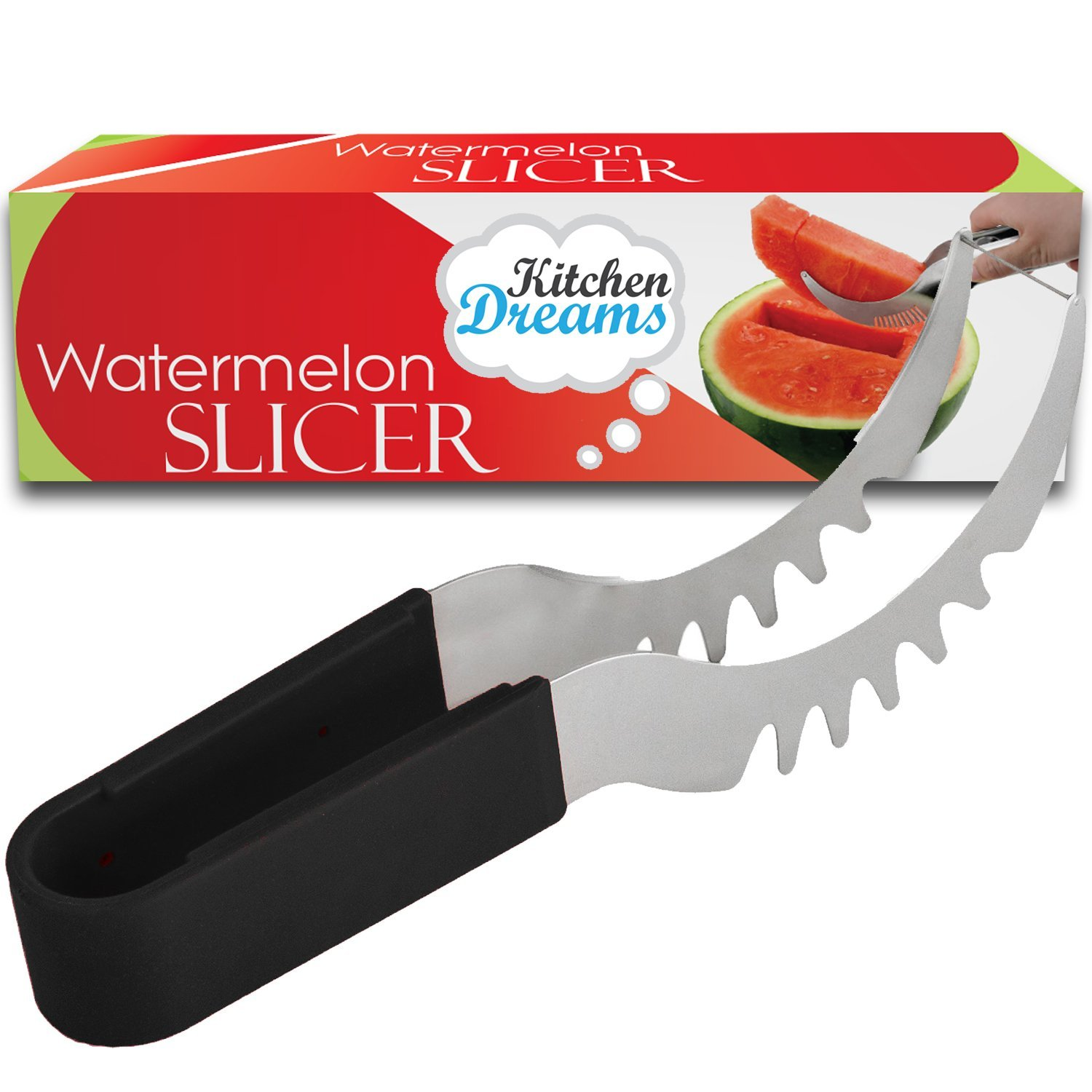 Watermelon Slicer Corer & Saver, For Melons & More, Cutter Tongs, Stainless Steel Knife Peeler by Kitchen Dreams