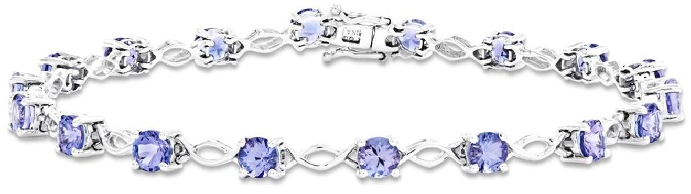 IceCarats 14k White Gold Blue Tanzanite Bracelet 7 Inch Gemstone Fine Jewelry Gift For Women Heart by IceCarats