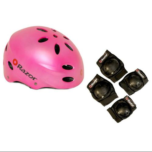 Razor V17 Youth Skateboard / Scooter Pink Sport Helmet w/ Elbow & Knee Pads