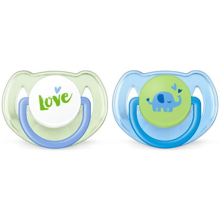 Philips Avent Classic Pacifier, 6-18 months, blue/green elephants, 2 pack, SCF189/24