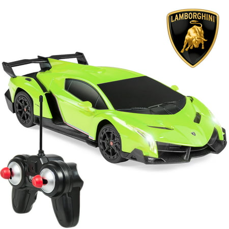 Best Choice Products 1/24 Scale RC Sport Racing Car w/ 27MHz Remote Control, Head and Taillights, Shock Suspension, Fine Tune Adjustment - Green (Remote Controller Car)