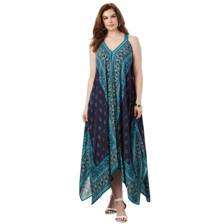 Plus Size Scarf Print Maxi Dress By Denim 24/7