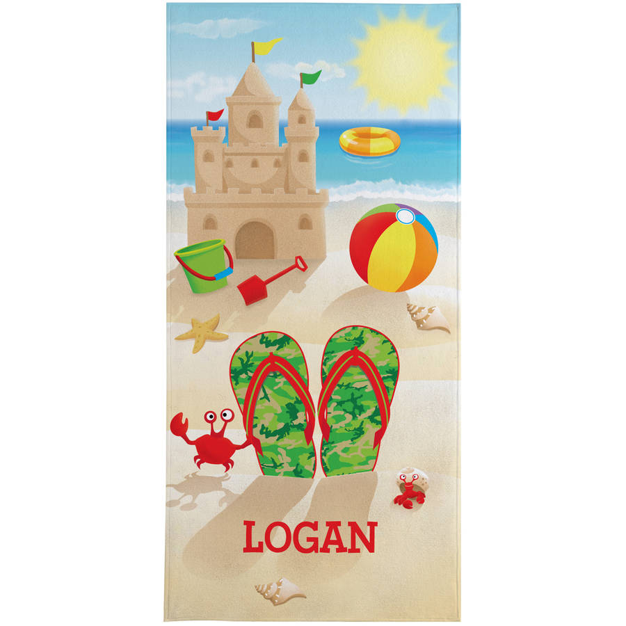 Personalized Flip Flop Fun Beach Towel, Available in Green or Red