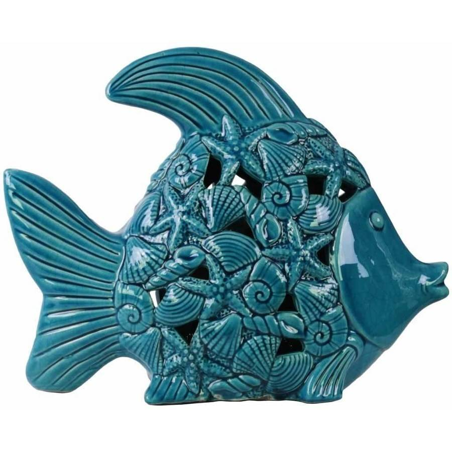 Urban Trends Collection: Ceramic Fish Figurine, Gloss Finish, White