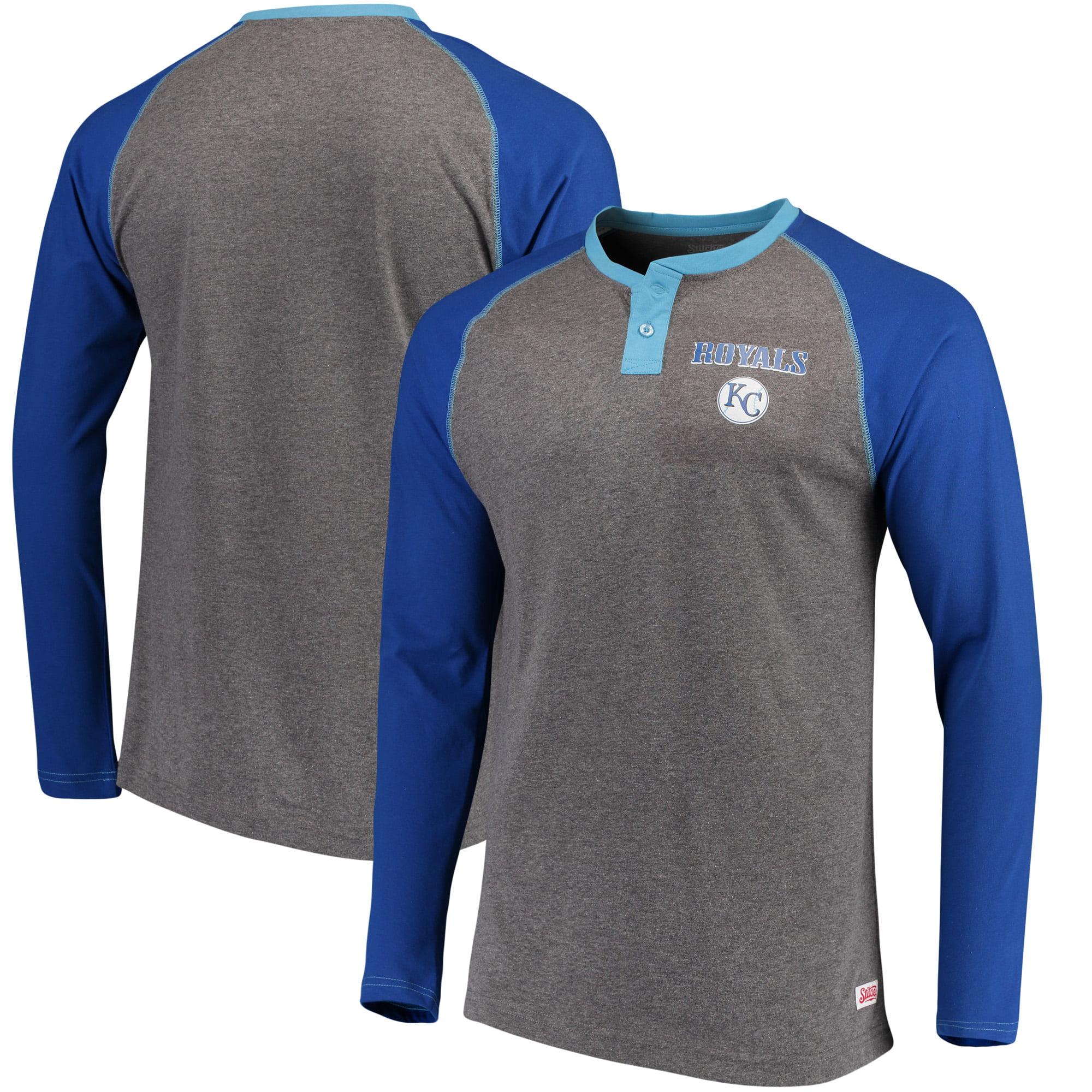 Kansas City Royals Stitches Home Run Long Sleeve Henley T-Shirt - Heathered Gray/Royal