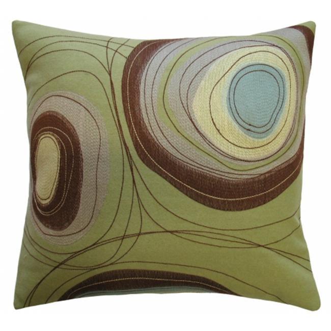 Koko Company 91806 Dune- Pillow- 20X20- Wool Felt Appliqu- And Embroidery- Circles.