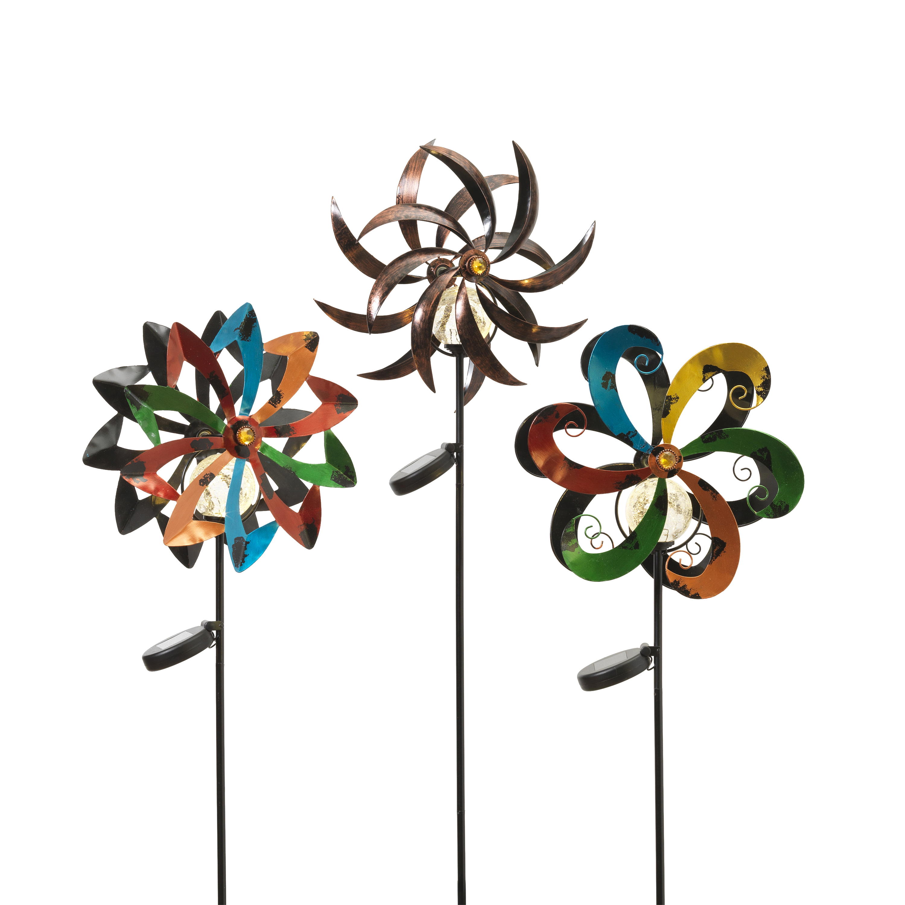 Gerson Assorted 43-Inch Tall Solar-Powered Metal Yard Stakes with Wind Spinners (Set of 3)