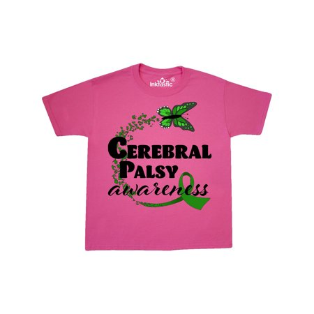 Cerebral Palsy Awareness with Green Butterfly and Ribbon Youth T-Shirt
