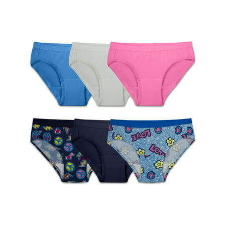 Comfies Microfiber Hipster (Fruit of the Loom Microfiber Assorted Hipsters, 6 Pack (Little Girls & Big Girls) )