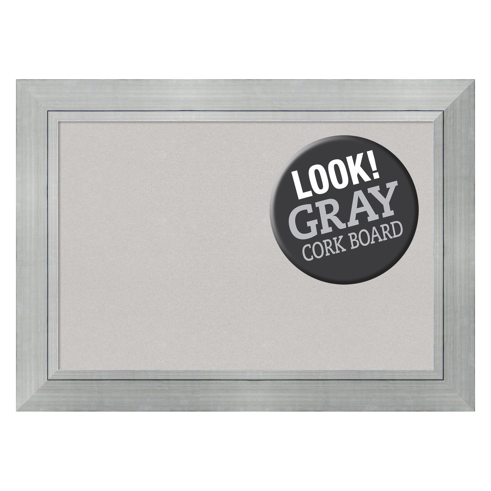 Amanti Art Romano Silver Framed Cork Board