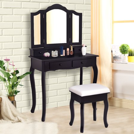 - Gymax Bathroom Vanity Jewelry Makeup Dressing Table Set With Stool 4 Drawer Folding Mirror Black
