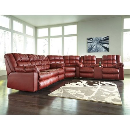 Ashley Brolayne 3 Piece Leather Reclining Sectional in Garnet