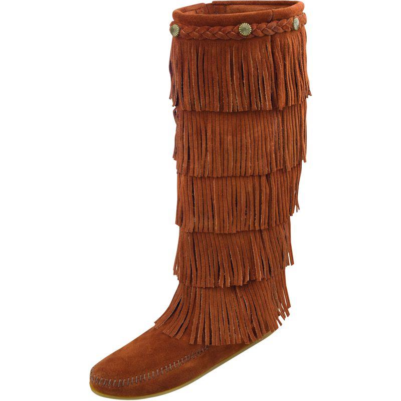 Minnetonka Womens  Brown 5 Layer Fringe Boot