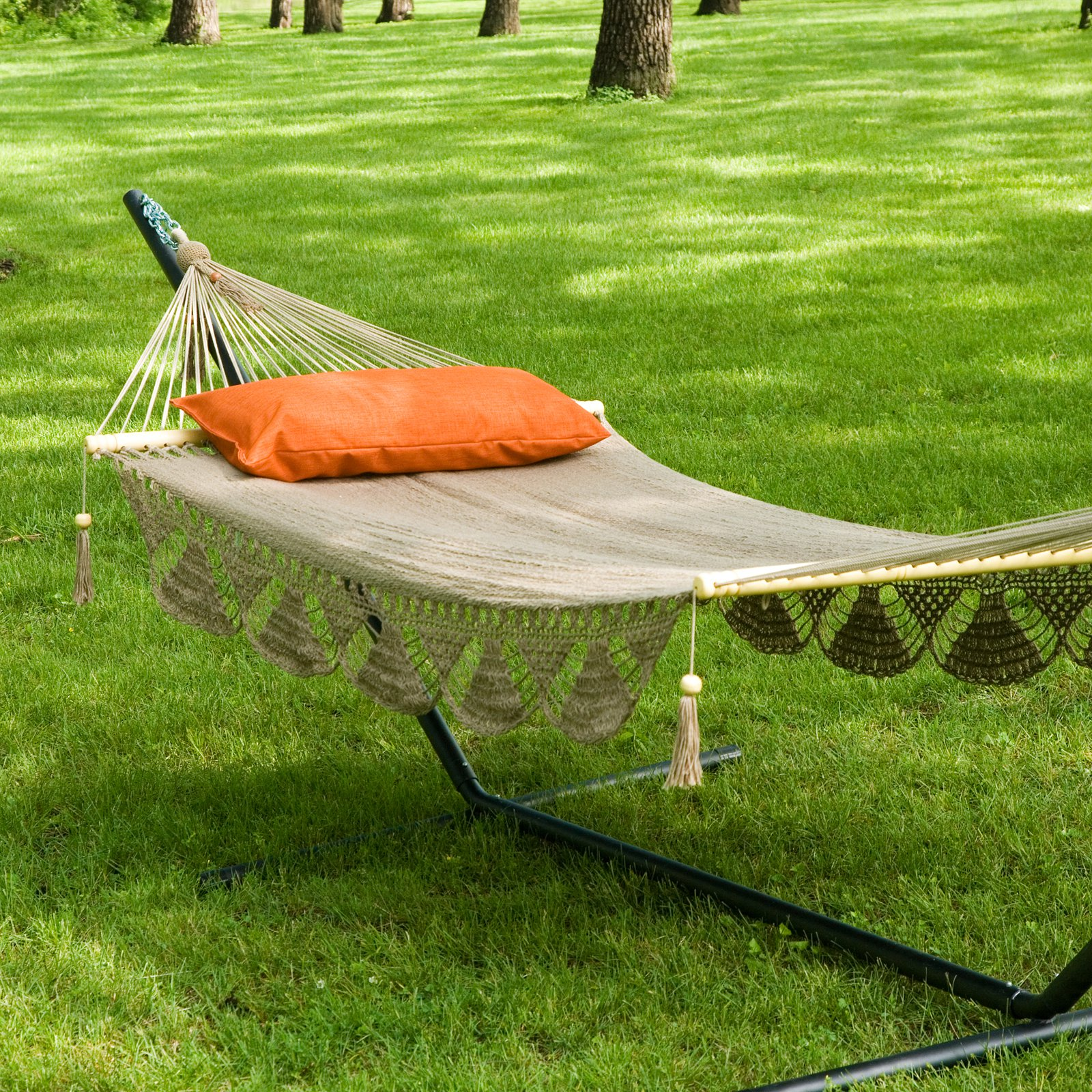 Coral Coast Large Nicaraguan Fringed Double Hammock with Stand