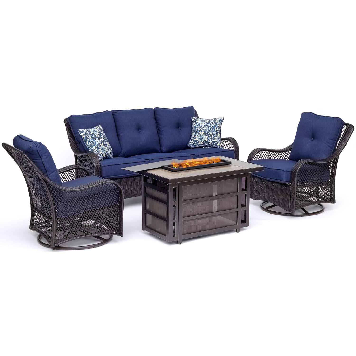 Hanover Orleans 4-Piece Woven Lounge Set with 30,000 BTU Firepit Table in Navy Blue by Hanover