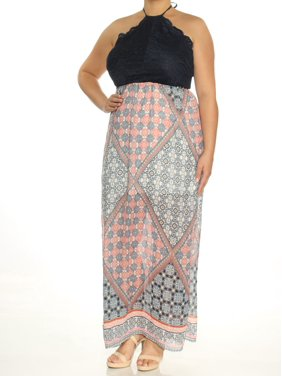bcd88ec2a Product Image TRIXXI Womens Navy Cut Out Printed Sleeveless Halter Maxi  Empire Waist Dress Size: XL