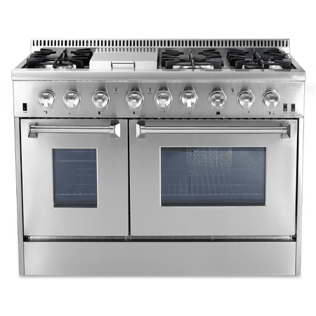 48 Height Range (Thor Kitchen 48 in. 6.7 cu. ft. Natural Gas Range with Sealed Burners, Griddle and Convection Oven in Stainless Steel )