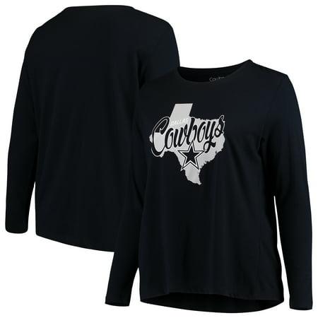 Dallas Cowboys Majestic Women's Plus Size Emilie Long Sleeve V-Neck T-Shirt - Navy ()