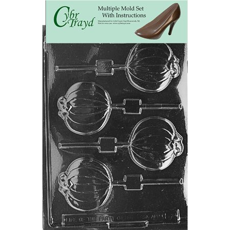 Plain Pumpkin Lolly Halloween Chocolate Candy Mold with Exclusive Cybrtrayd Copyrighted Molding Instructions, Pack of 3