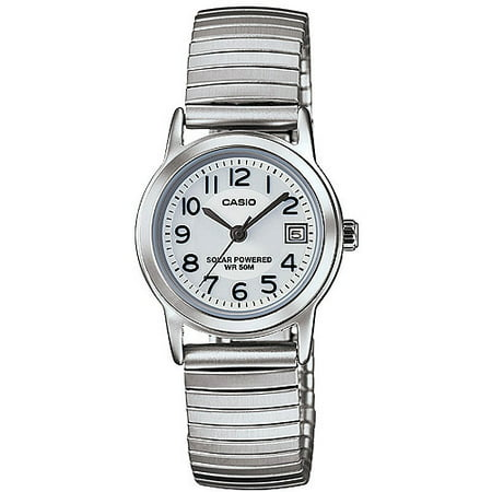 Casio Women's Solar-Powered Easy Reader Silver Bracelet - Silver Girls Watch