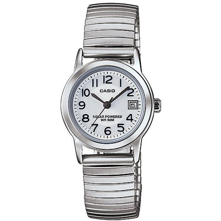 Casio Women's Solar-Powered Easy Reader Silver Bracelet Watch ()