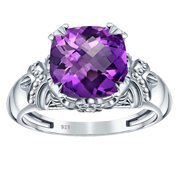 3.80 Ctw Purple Amethyst 925 Sterling Silver Solitaire Prong Ring, Brio Cut Cushion For Women