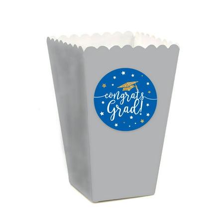 Royal Blue and Gold Glittering Graduation, Popcorn Box DIY Party Favors Kit, Congrats Grad!, 24-Pack (Diy Graduation Party Favors)