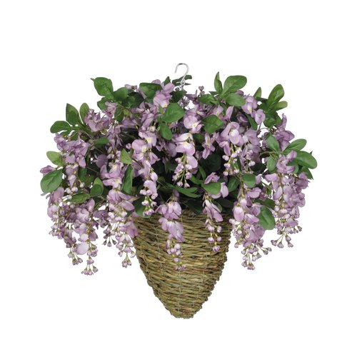 Charlton Home Faux Wisteria Floral Arrangement in Beehive Planter