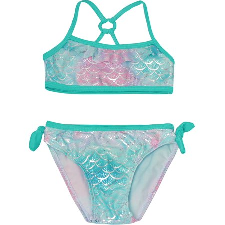 Real Love Little Girls Aqua Mermaid Scale 2 Pc Bandeau Bikini -