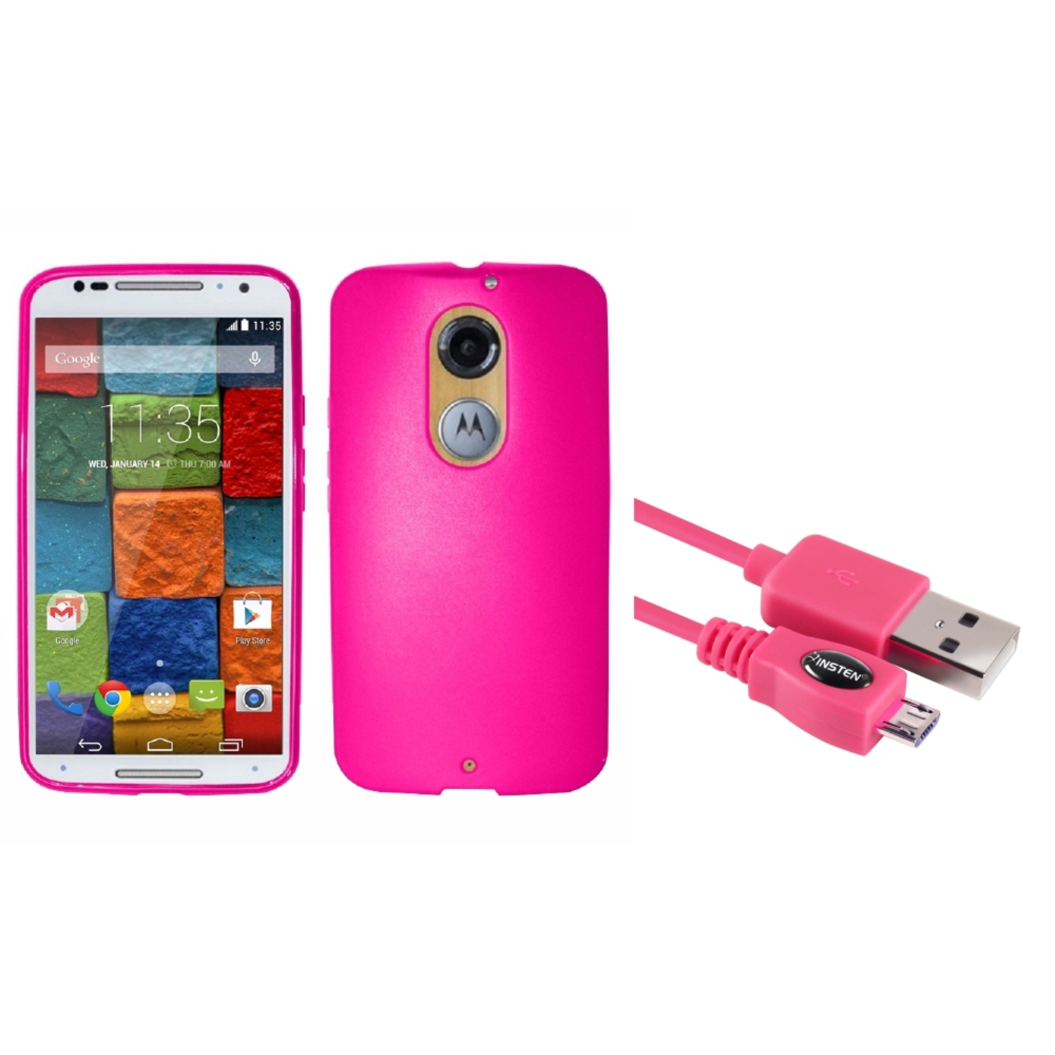Insten Rubber Cover Case For Motorola Moto X (2nd Gen 2014 version) - Hot Pink (with USB Cable)
