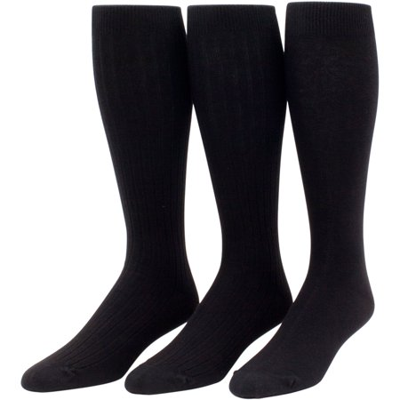 Calf Brandy - Men's Cotton Over the Calf Dress Socks- 3 pairs