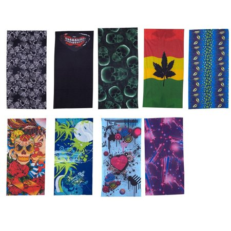 9-Piece Seamless Bandana Face Mask - Multipurpose Headwear for UV Protection, Use As Headwraps, Helmet Liners, Neck Gaiter, 9 Assorted Designs for Outdoor Sports, Raves, 18.75 x 9.75 Inches