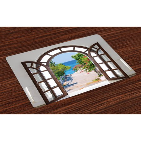 Beach Placemats Set of 4 Ocean Sea View from Summer Season Italian Design in Garden Image, Washable Fabric Place Mats for Dining Room Kitchen Table Decor,Brown White and Pale Blue, by Ambesonne ()
