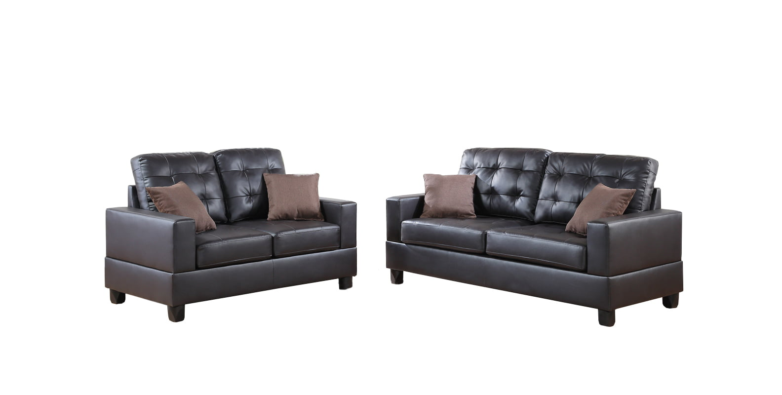 Bobkona Aria Faux Leather 2-Piece Sofa and Loveseat Set by Poundex