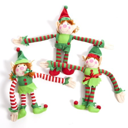 deluxe plush hanging christmas elves party favors 12 pieces these fun little christmas elves