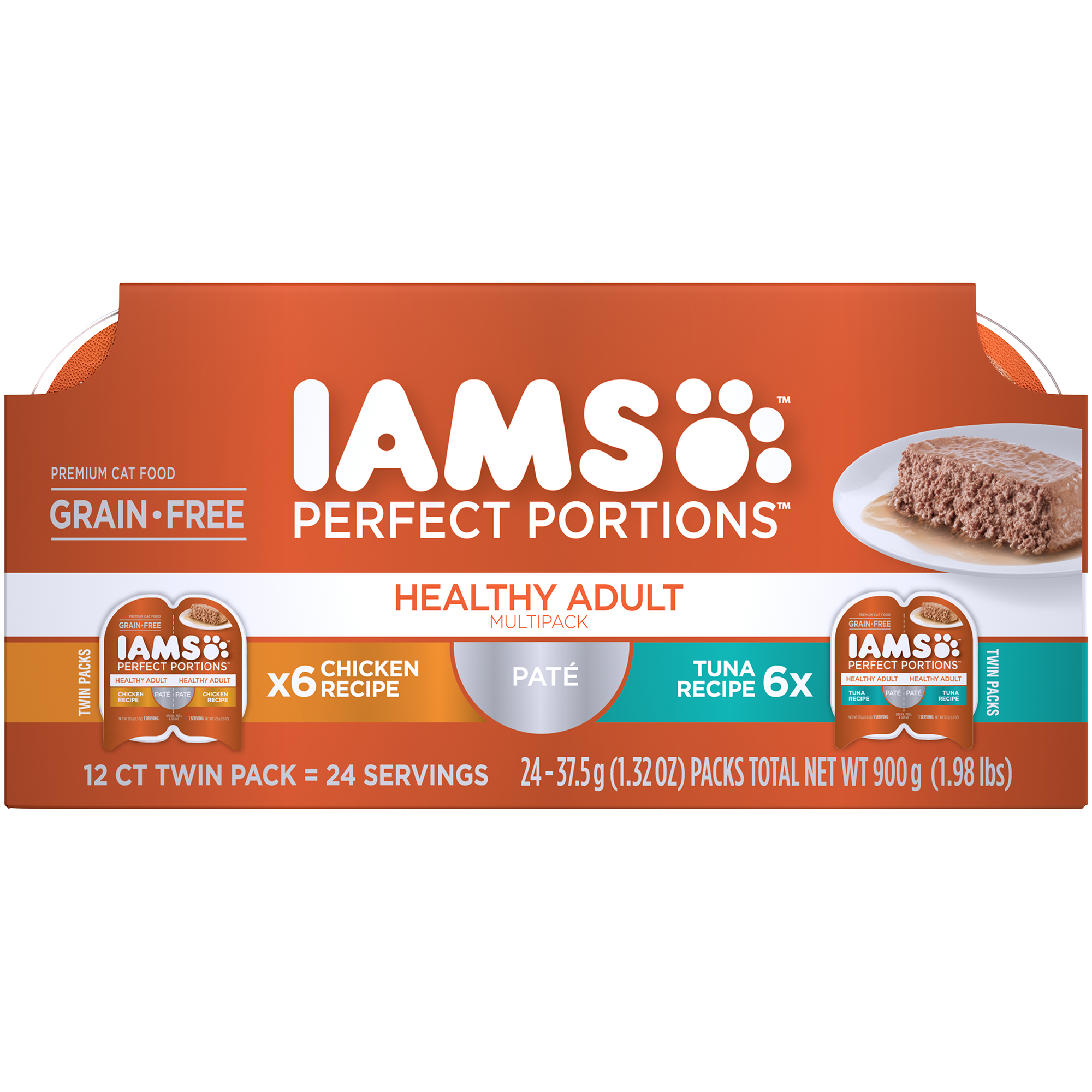 IAMS PERFECT PORTIONS Grain Free Adult Wet Cat Food Pate Chicken Recipe and Tuna Recipe Variety Pack, (12) 2.6 oz. Twin-Pack Trays