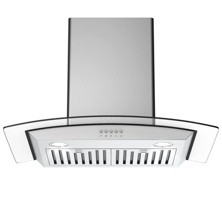 Gymax 30'' Wall Mount Kitchen Range Hood Stainless Steel Tempered Glass w/ LED