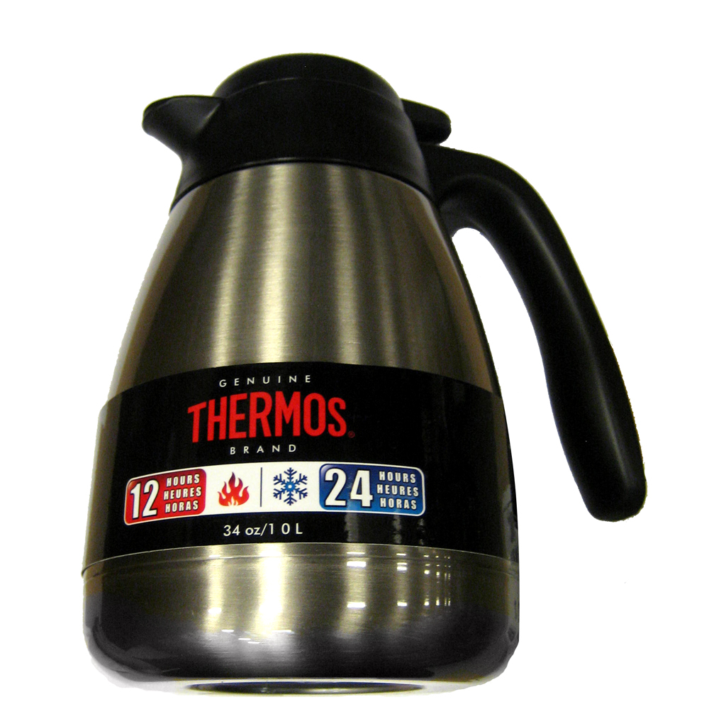 THERMOS BRUSHED STAINLESS STEEL CARAFE 34 OZ