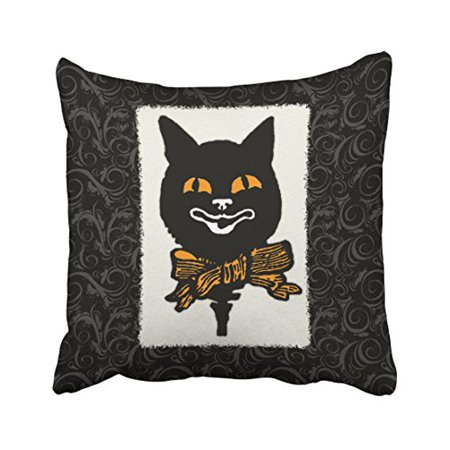 WinHome Vintage Halloween Cat Decoration Throw Pillow Covers Cushion Cover Case 18x18 Inches Pillowcases Two Side
