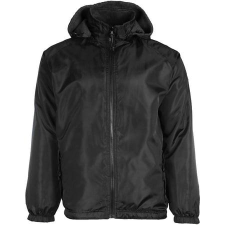 Mens Reversible Water Resistant Fleece Lined Black Jacket Zip-Off Hood in Big Sizes 2X 3X 4X (3X, Black)