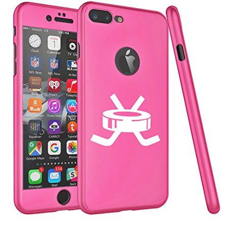 For Apple iPhone 360° Full Body Thin Slim Hard Case Cover + Tempered Glass Screen Protector Hockey Puck With Sticks (Hot Pink For iPhone 6 / 6s) (Iphone 6 Devils Hockey Case)
