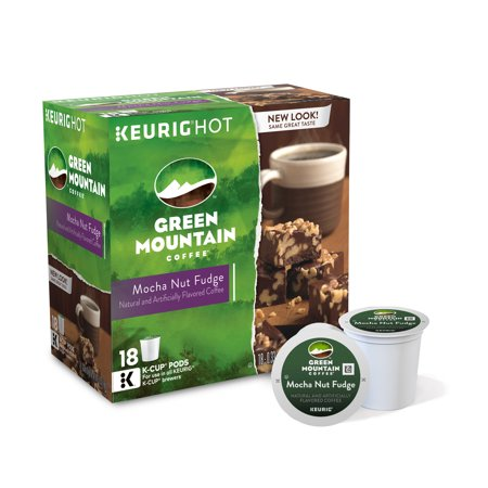 Green Mountain Coffee Mocha Nut Fudge Keurig Single-Serve K-Cup pods, Light Roast Coffee, 18 Count
