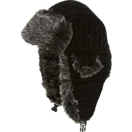 Sakkas Turner Unisex Ribbed Knit Faux Fur Lined Chin Strap Winter Trooper Hat - Black - - Black Faux Fur Hat