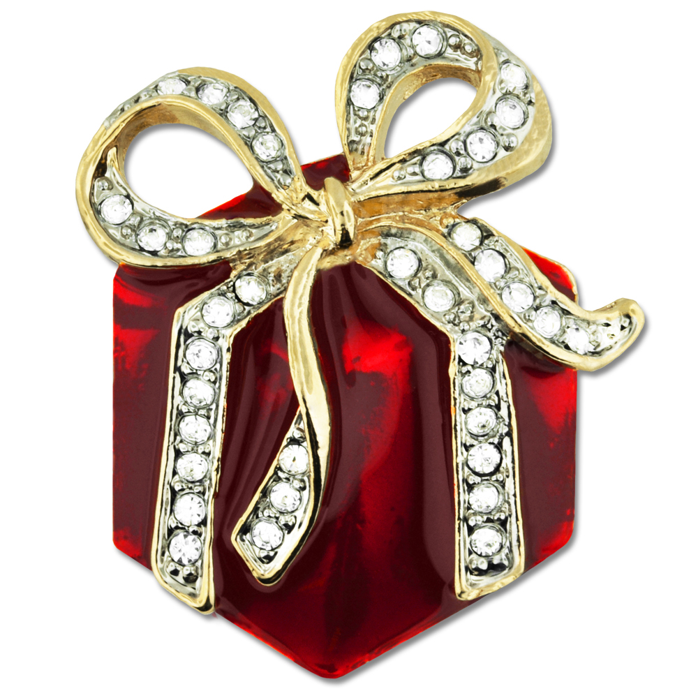 "PinMart's Red Christmas Present Gift with Rhinestone Bow Brooch Lapel Pin 1-1 2"" by PinMart"