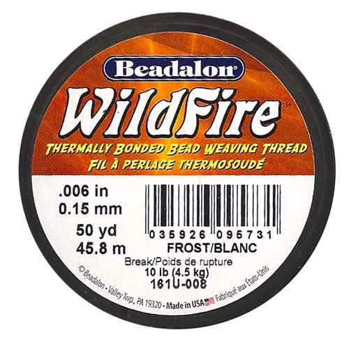 Wildfire Thermal Bonded Beading Thread .006 Inch - White- 50 Yd