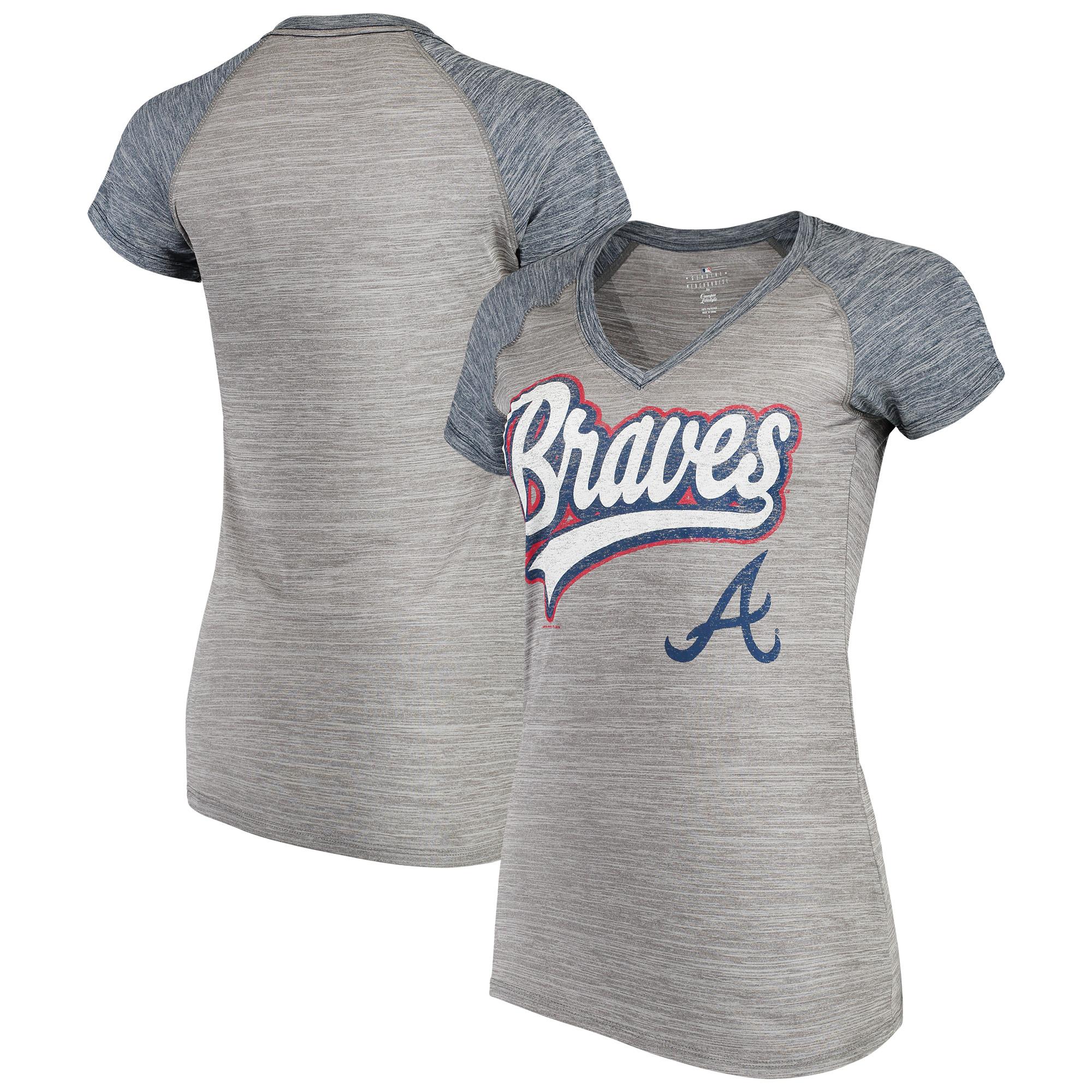 Women's New Era Gray Atlanta Braves Space Dye V-Neck T-Shirt